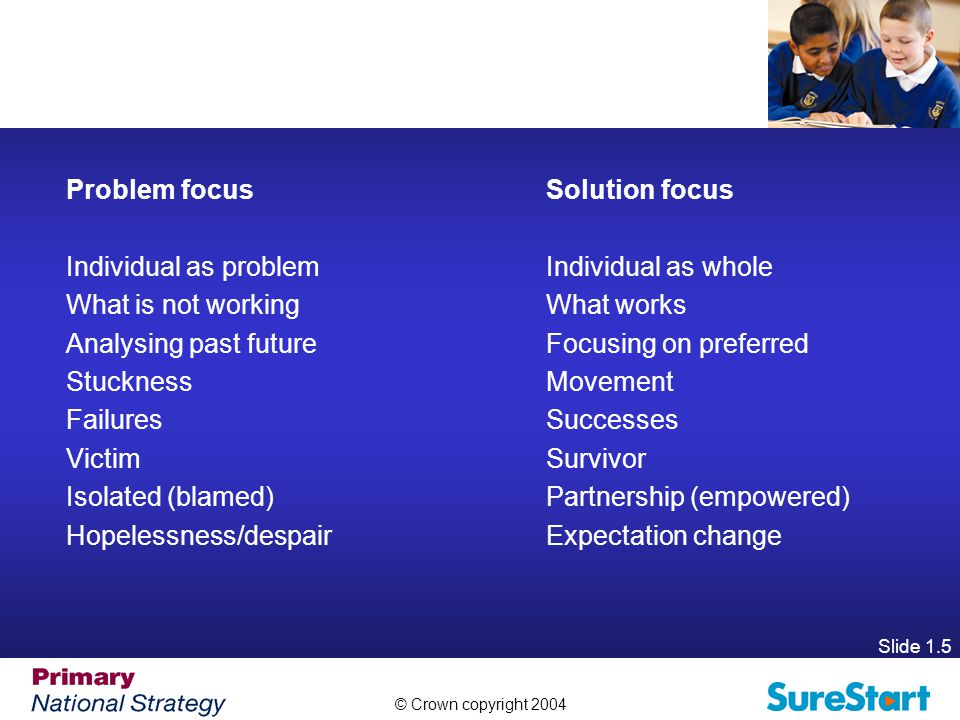 © Crown copyright 2004 Slide 1.5 Problem focus Solution focus Individual as problem Individual as whole What is not working What works Analysing past futureFocusing on preferred Stuckness Movement Failures Successes Victim Survivor Isolated (blamed) Partnership (empowered) Hopelessness/despair Expectation change
