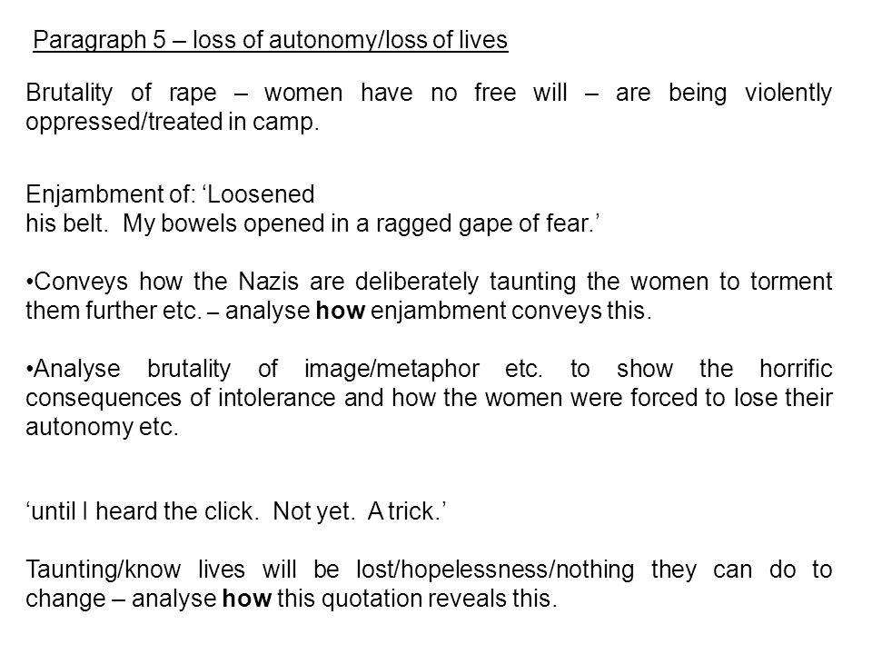 Paragraph 5 – loss of autonomy/loss of lives Brutality of rape – women have no free will – are being violently oppressed/treated in camp. Enjambment o