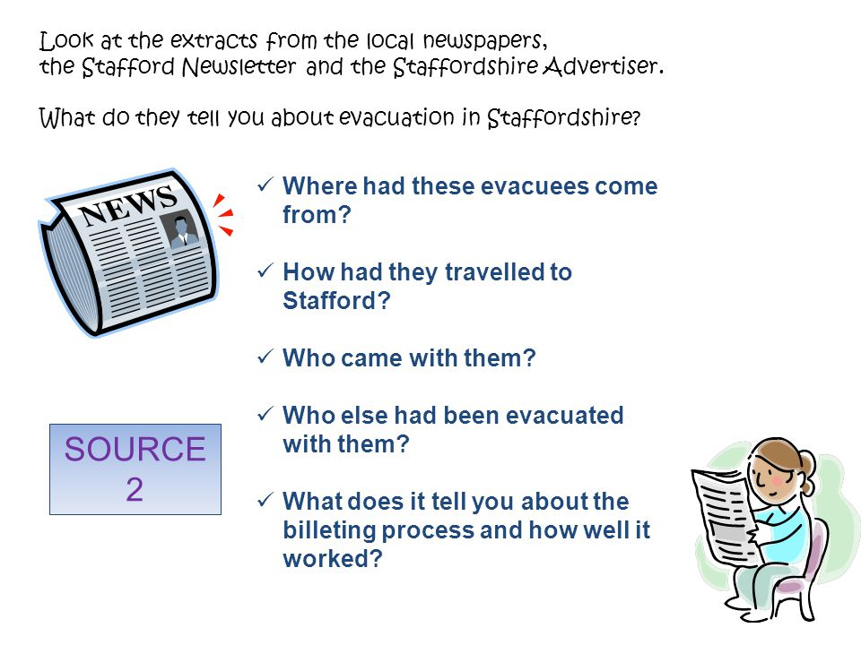 Look at the extracts from the local newspapers, the Stafford Newsletter and the Staffordshire Advertiser.