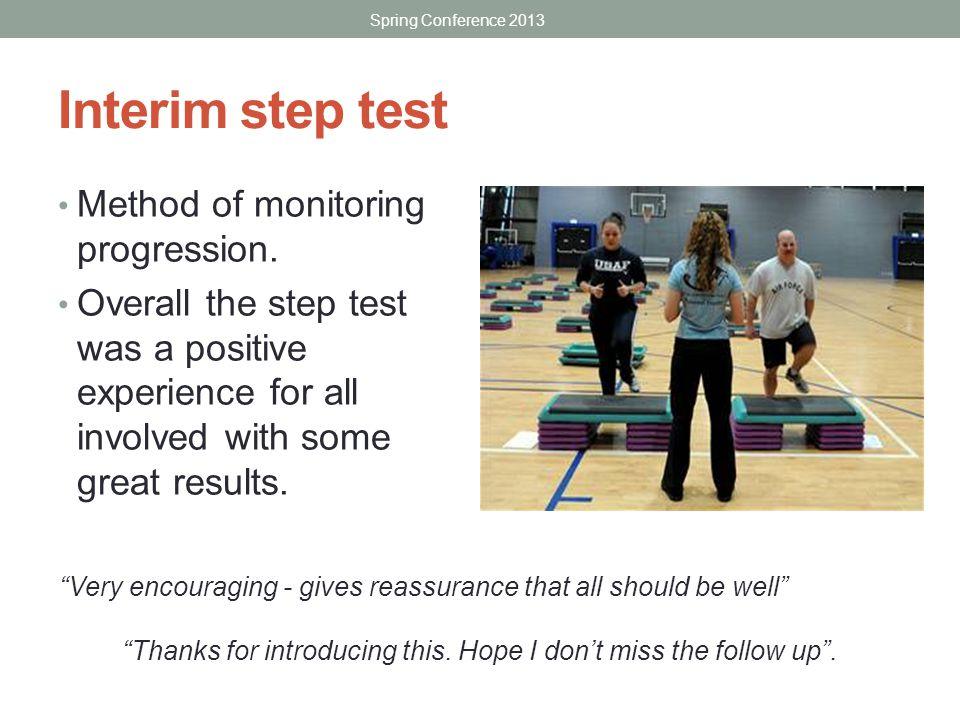 Interim step test Method of monitoring progression.