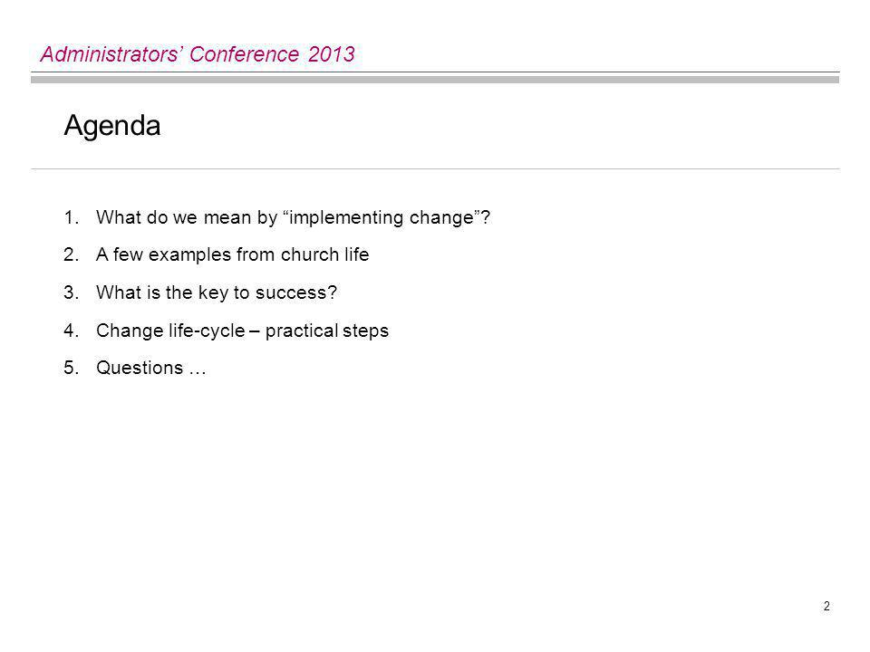 2 Administrators' Conference 2013 Agenda 1.What do we mean by implementing change .
