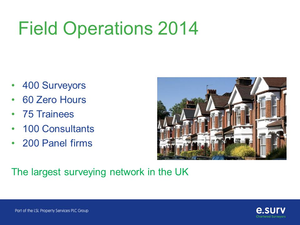 Field Operations 2014 400 Surveyors 60 Zero Hours 75 Trainees 100 Consultants 200 Panel firms The largest surveying network in the UK