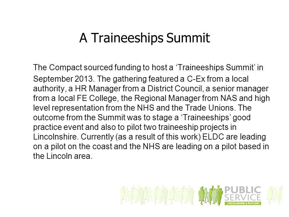 A Traineeships Summit The Compact sourced funding to host a 'Traineeships Summit' in September 2013.