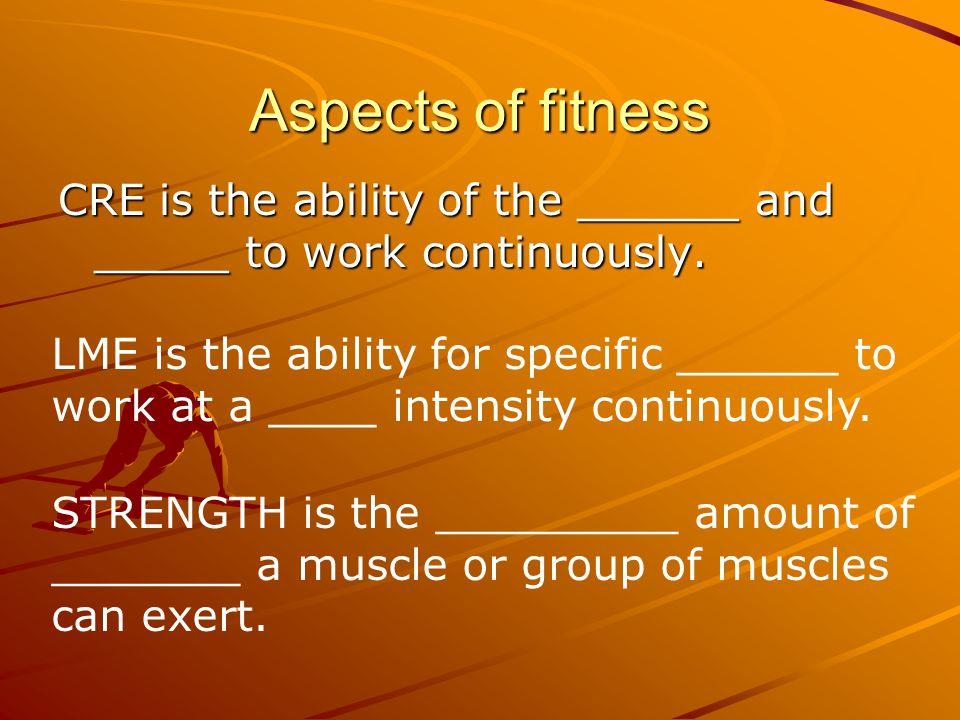 Aspects of fitness C.R.E. – L.M.E.