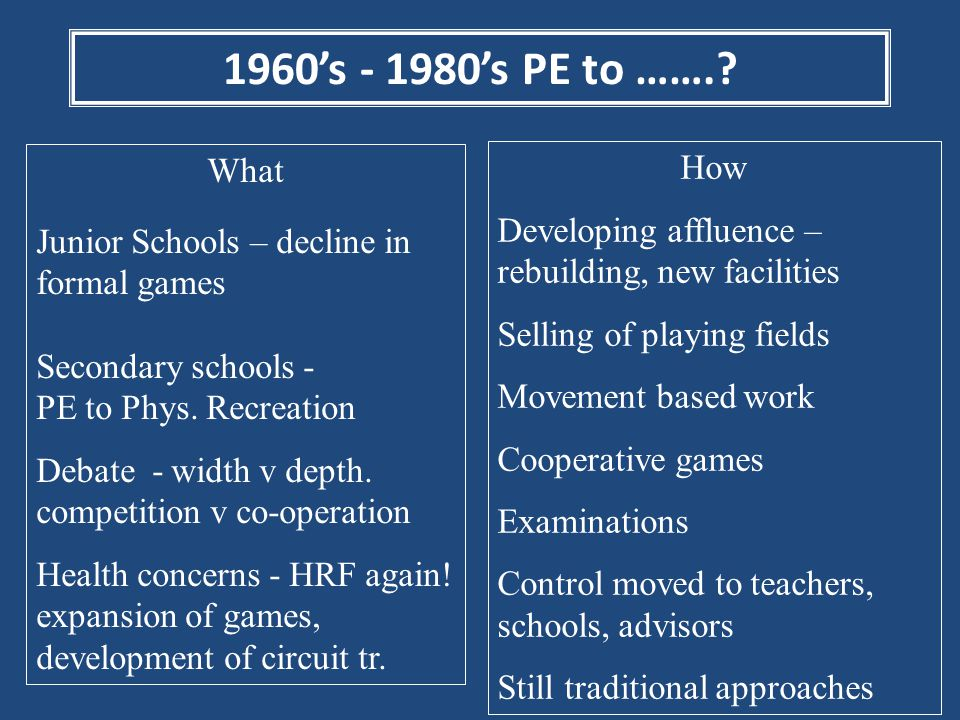 1960's - 1980's PE to …….? What Junior Schools – decline in formal games Secondary schools - PE to Phys. Recreation Debate - width v depth. competitio