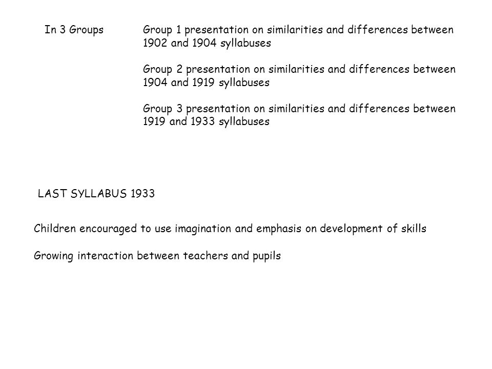 LAST SYLLABUS 1933 Children encouraged to use imagination and emphasis on development of skills Growing interaction between teachers and pupils In 3 GroupsGroup 1 presentation on similarities and differences between 1902 and 1904 syllabuses Group 2 presentation on similarities and differences between 1904 and 1919 syllabuses Group 3 presentation on similarities and differences between 1919 and 1933 syllabuses
