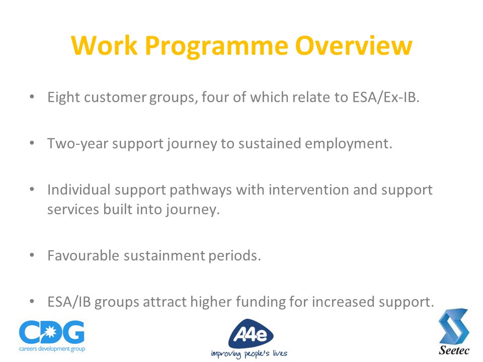 Eight customer groups, four of which relate to ESA/Ex-IB.