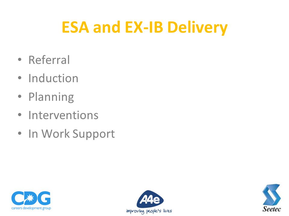 Referral Induction Planning Interventions In Work Support ESA and EX-IB Delivery