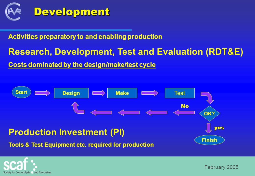 February 2005 Activities preparatory to and enabling production Research, Development, Test and Evaluation (RDT&E) Costs dominated by the design/make/test cycle Production Investment (PI) Tools & Test Equipment etc.