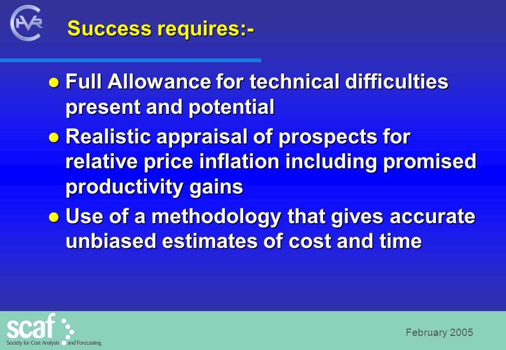 February 2005 Non-recurring costs are once for all.