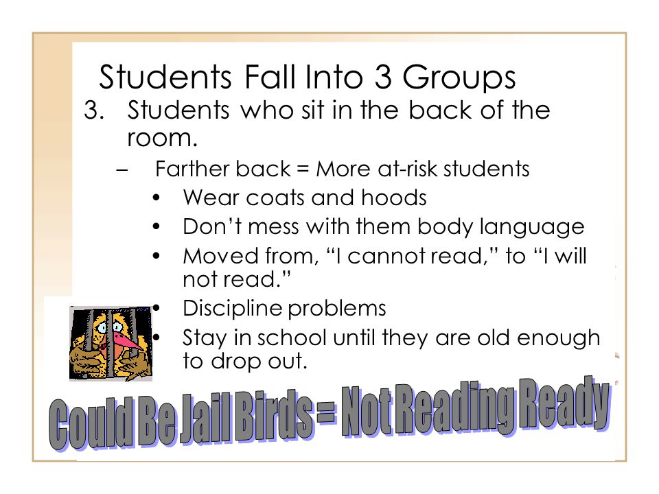 Students Fall Into 3 Groups 3.Students who sit in the back of the room.