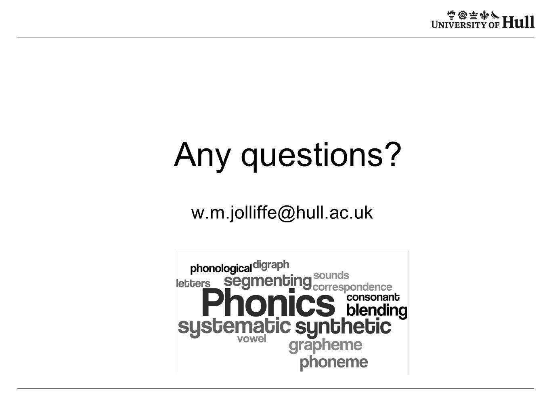 Any questions? w.m.jolliffe@hull.ac.uk