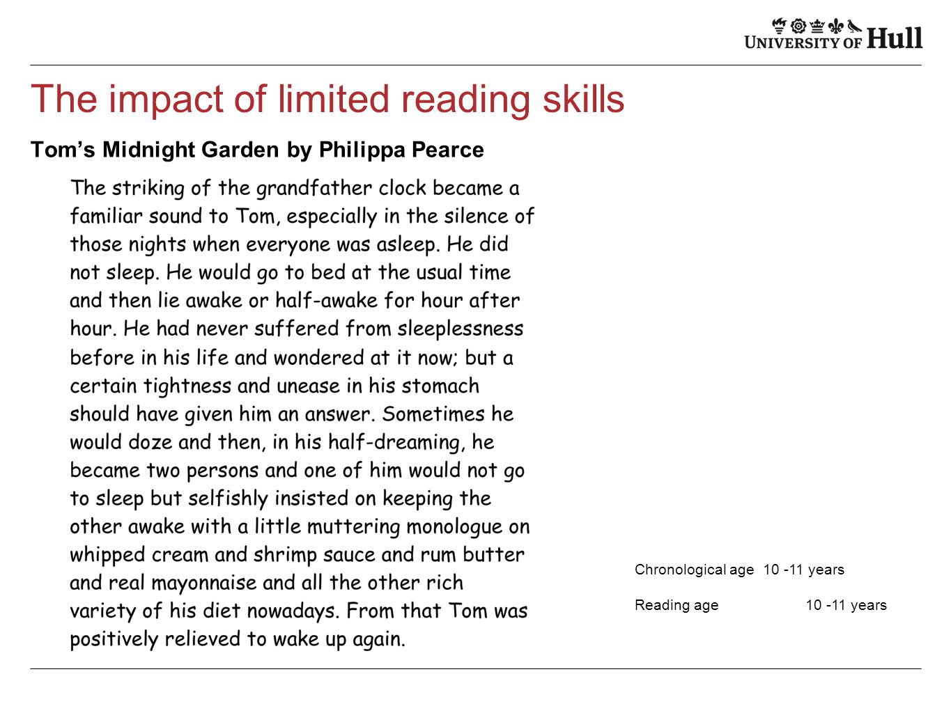 The impact of limited reading skills Tom's Midnight Garden by Philippa Pearce Chronological age10 -11 years Reading age 10 -11 years