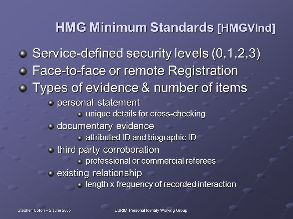 Stephen Upton – 2 June 2005EURIM Personal Identity Working Group HMG Minimum Standards [HMGVInd] Service-defined security levels (0,1,2,3) Service-def