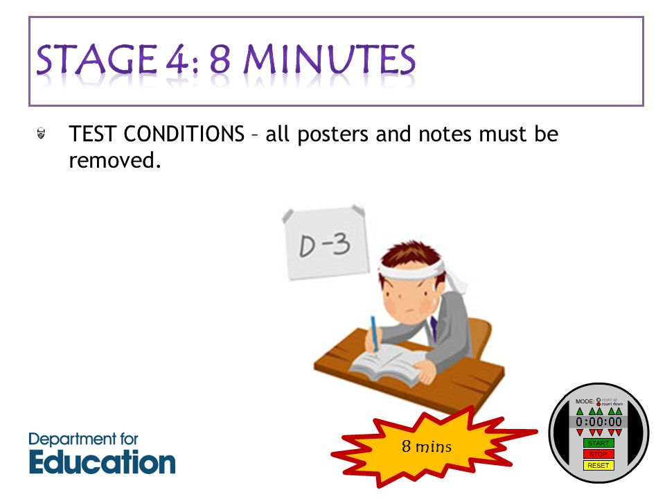 TEST CONDITIONS – all posters and notes must be removed. 8 mins