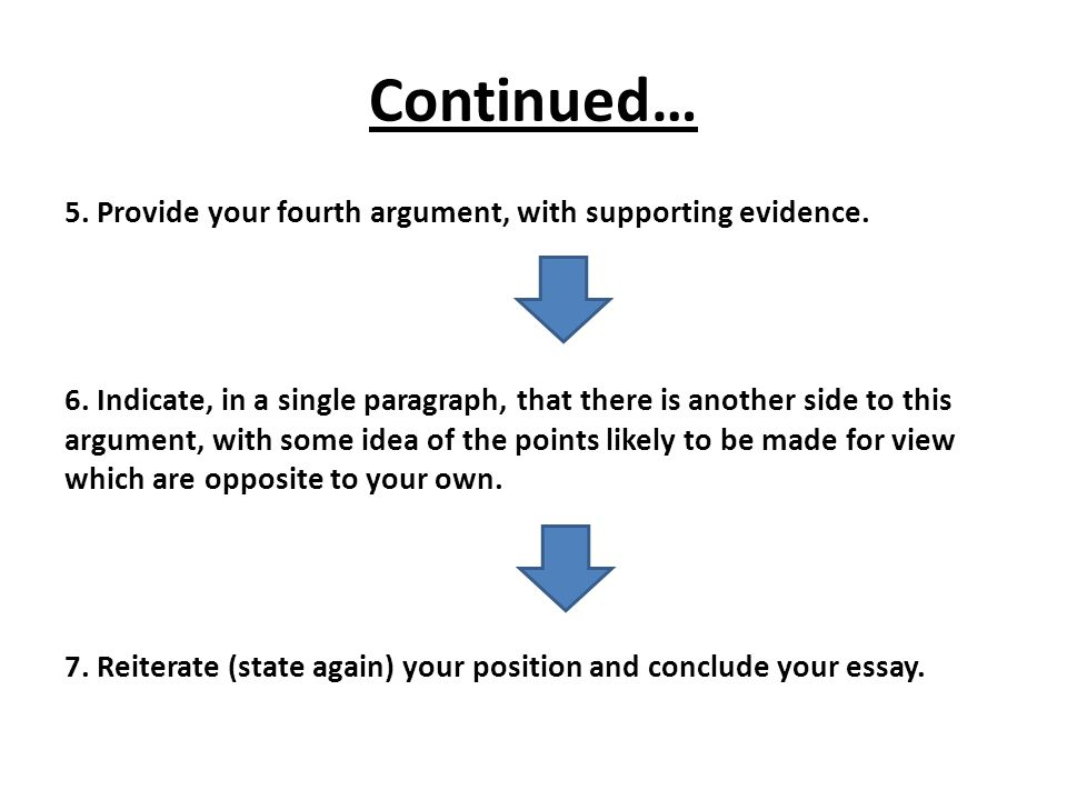 Continued… 5. Provide your fourth argument, with supporting evidence.