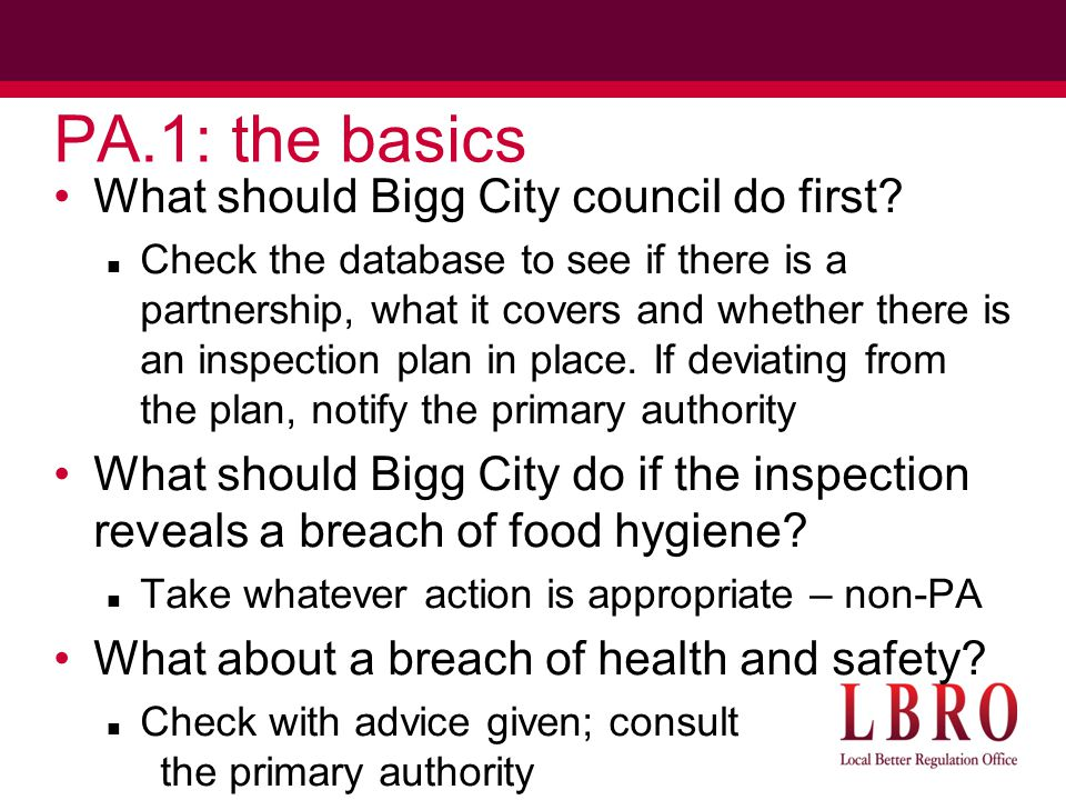 PA.1: the basics What should Bigg City council do first.
