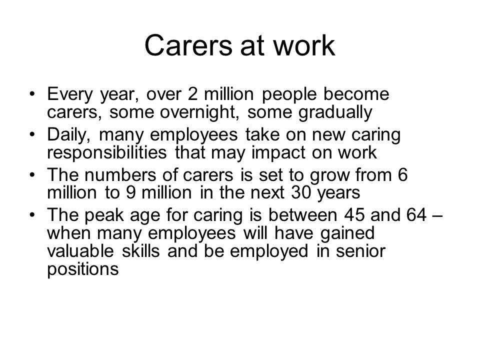 Carers at work Every year, over 2 million people become carers, some overnight, some gradually Daily, many employees take on new caring responsibilities that may impact on work The numbers of carers is set to grow from 6 million to 9 million in the next 30 years The peak age for caring is between 45 and 64 – when many employees will have gained valuable skills and be employed in senior positions