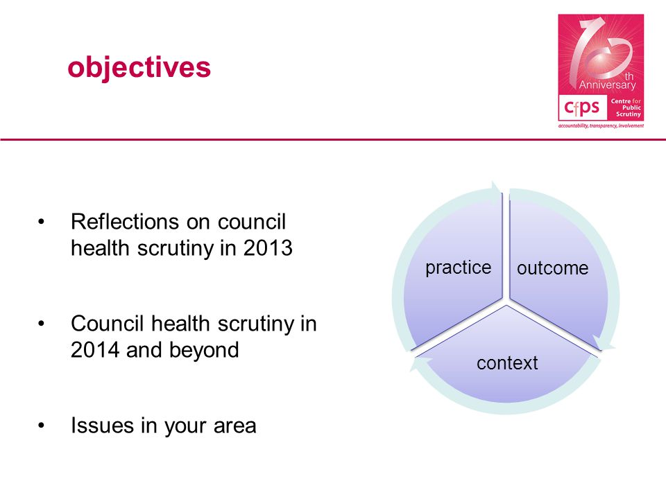 outcome context practice objectives Reflections on council health scrutiny in 2013 Council health scrutiny in 2014 and beyond Issues in your area