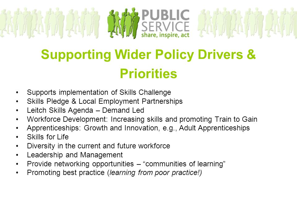 Supporting Wider Policy Drivers & Priorities Supports implementation of Skills Challenge Skills Pledge & Local Employment Partnerships Leitch Skills A