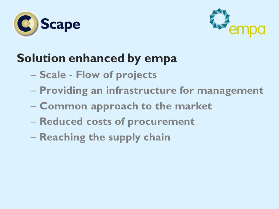 Solution enhanced by empa –Scale - Flow of projects –Providing an infrastructure for management –Common approach to the market –Reduced costs of procurement –Reaching the supply chain