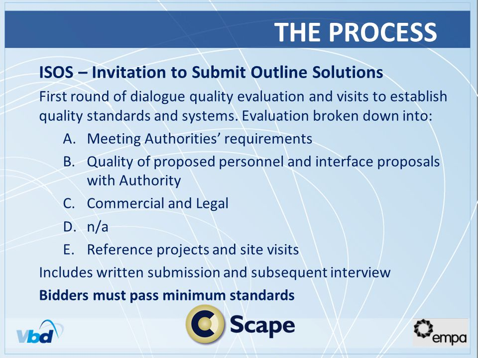 THE PROCESS ISOS – Invitation to Submit Outline Solutions First round of dialogue quality evaluation and visits to establish quality standards and systems.