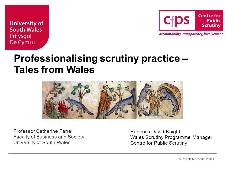 © University of South Wales Professor Catherine Farrell Faculty of Business and Society University of South Wales Rebecca David-Knight Wales Scrutiny