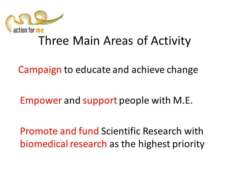 Three Main Areas of Activity Campaign to educate and achieve change Empower and support people with M.E.