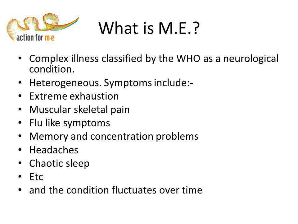 Aims of the workshop Raise awareness and increase understanding of M.E.