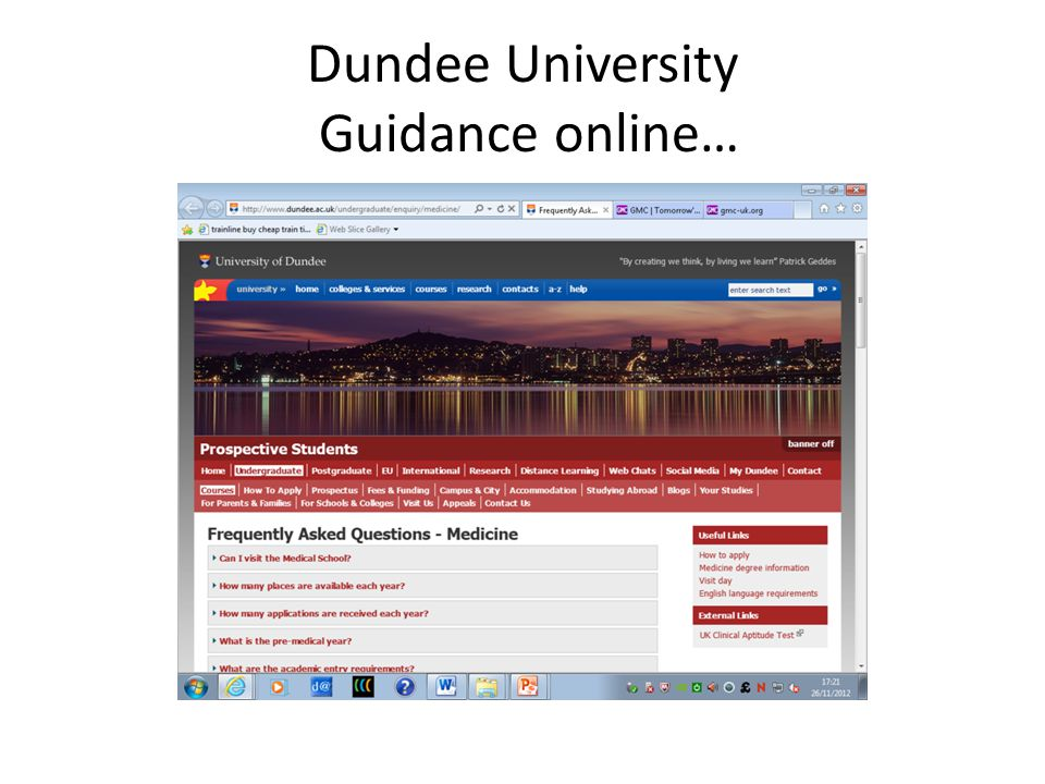 Dundee University Guidance online…