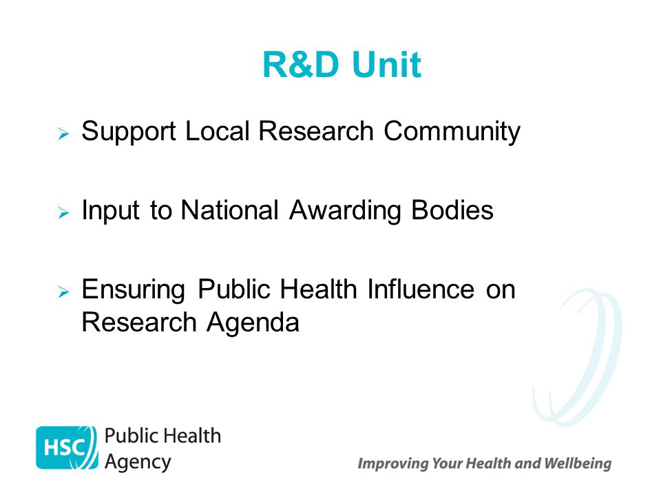 R&D Unit  Support Local Research Community  Input to National Awarding Bodies  Ensuring Public Health Influence on Research Agenda