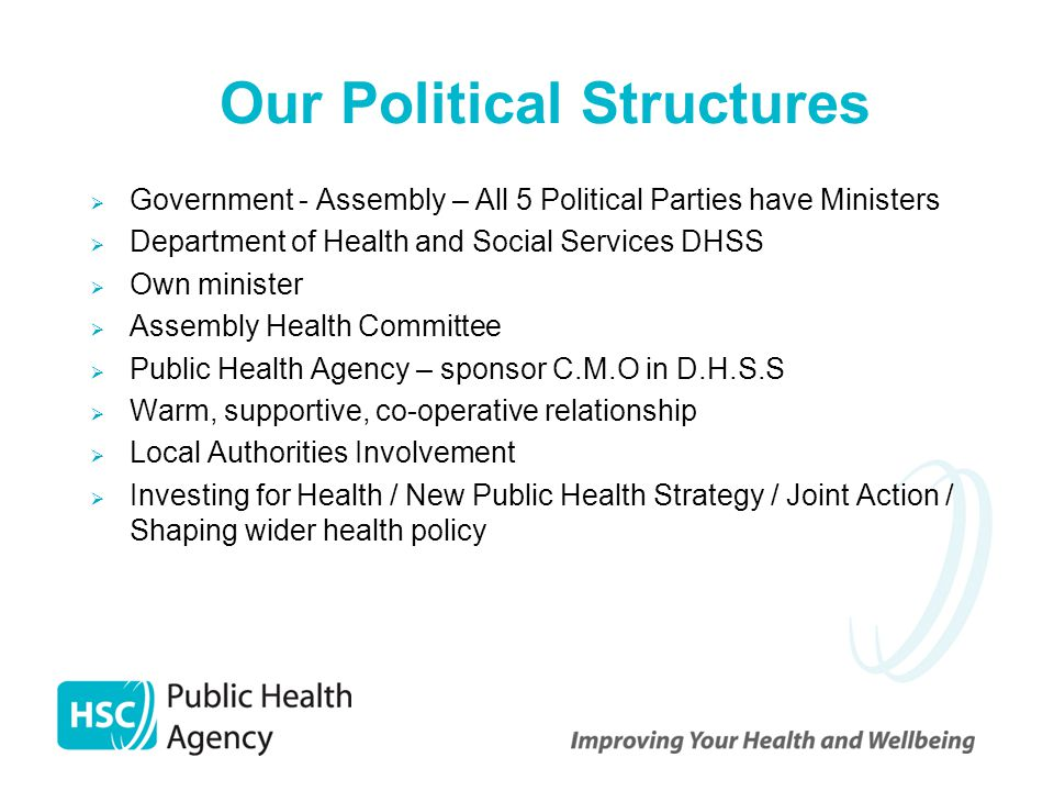 Our Political Structures  Government - Assembly – All 5 Political Parties have Ministers  Department of Health and Social Services DHSS  Own minist