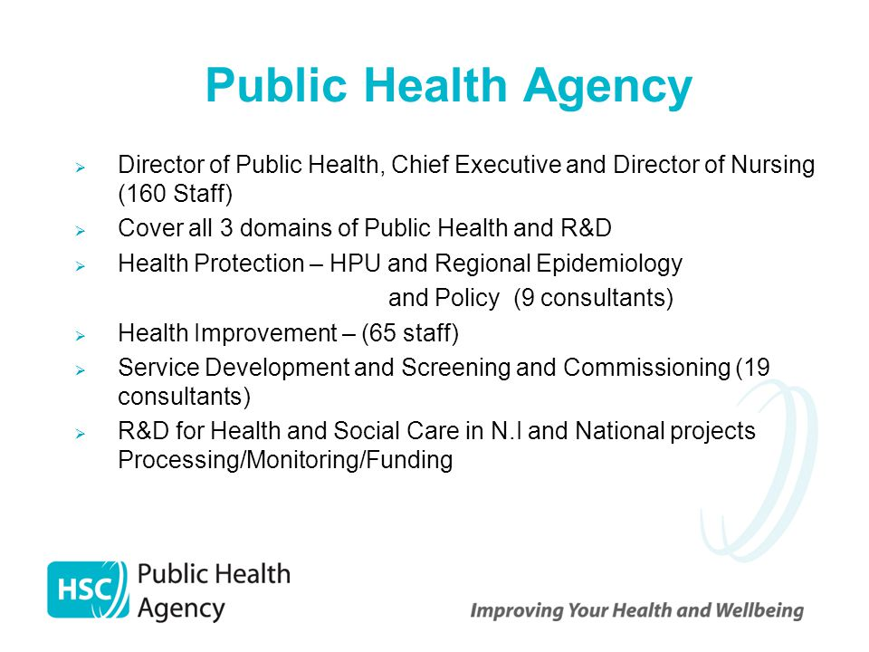 Public Health Agency  Director of Public Health, Chief Executive and Director of Nursing (160 Staff)  Cover all 3 domains of Public Health and R&D 