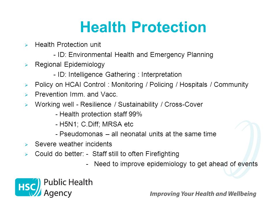 Health Protection  Health Protection unit - ID: Environmental Health and Emergency Planning  Regional Epidemiology - ID: Intelligence Gathering : In