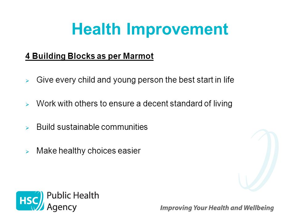 Health Improvement 4 Building Blocks as per Marmot  Give every child and young person the best start in life  Work with others to ensure a decent st