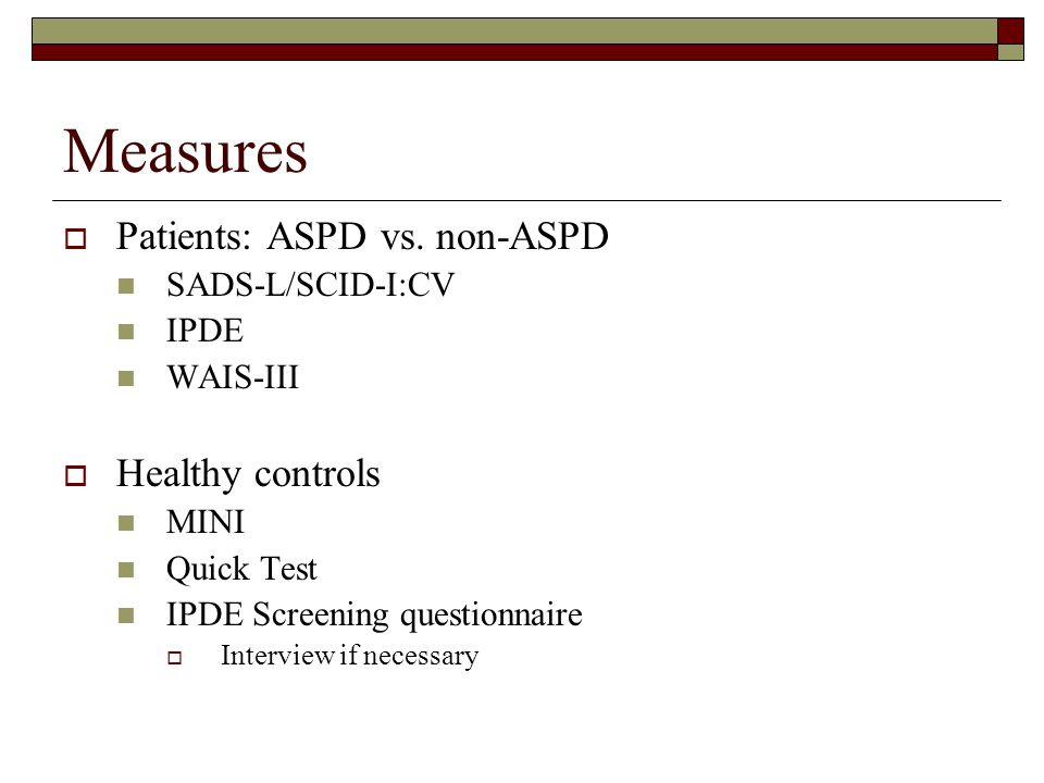 Measures  Patients: ASPD vs.