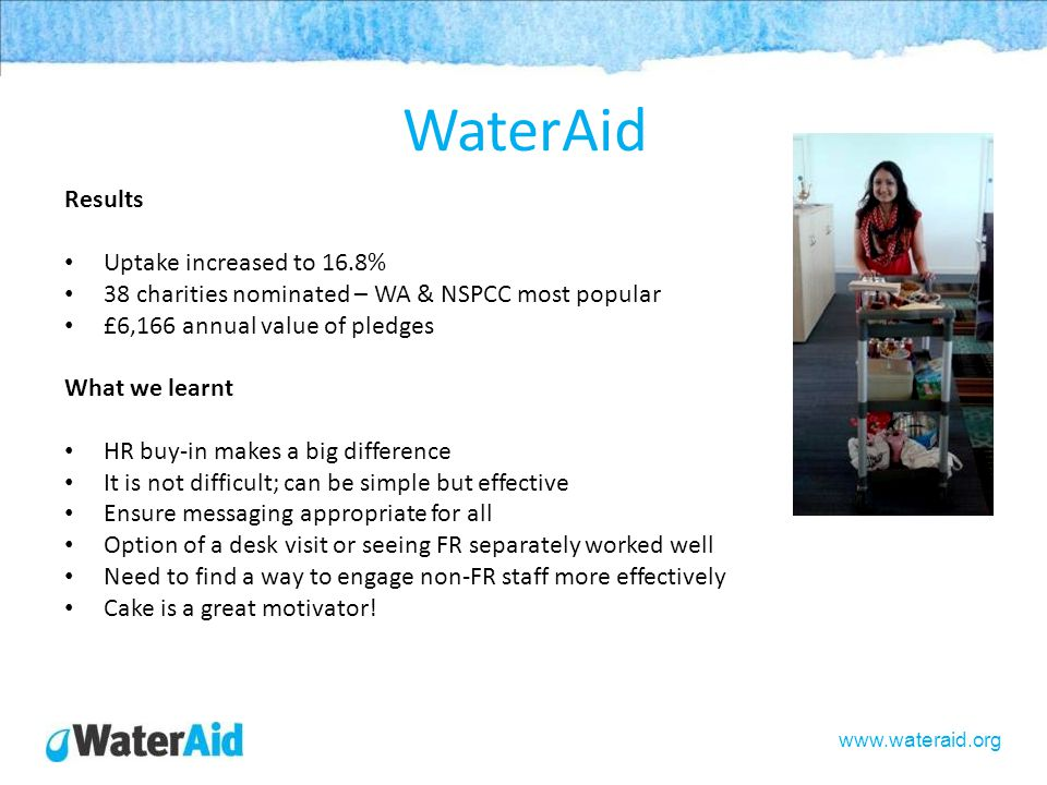 www.wateraid.org WaterAid Results Uptake increased to 16.8% 38 charities nominated – WA & NSPCC most popular £6,166 annual value of pledges What we le