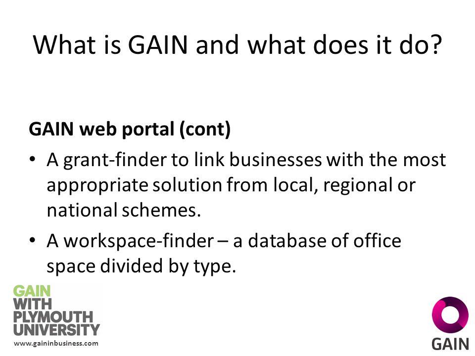 www.gaininbusiness.com How will GAIN work.