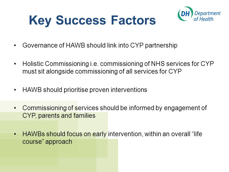 Key Success Factors Governance of HAWB should link into CYP partnership Holistic Commissioning i.e. commissioning of NHS services for CYP must sit alo