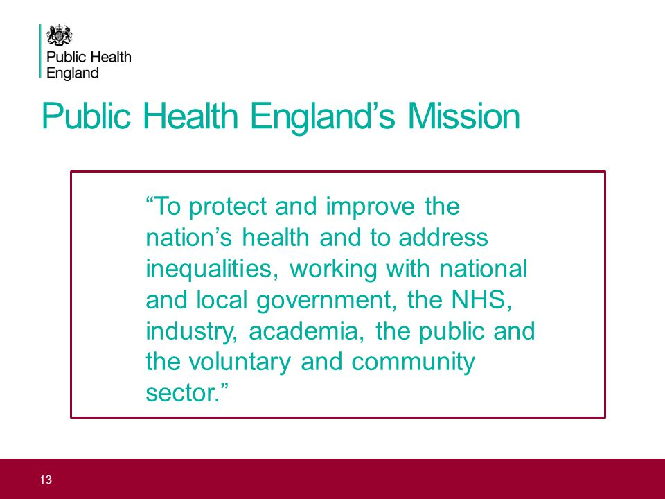 Public Health England's Mission 13 To protect and improve the nation's health and to address inequalities, working with national and local government, the NHS, industry, academia, the public and the voluntary and community sector.