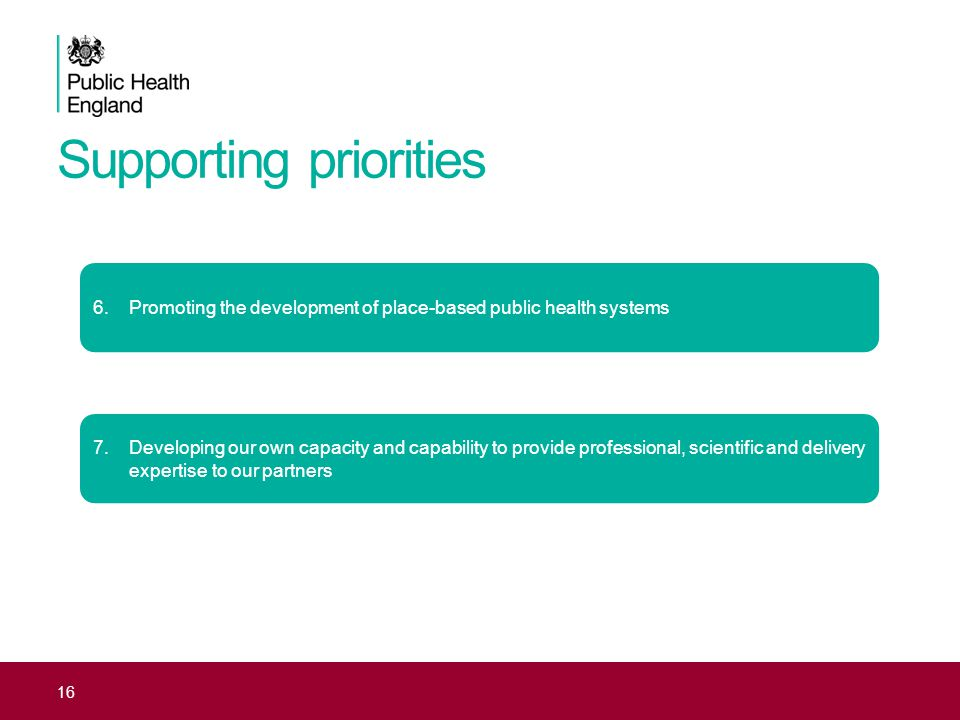 Supporting priorities 16 6.Promoting the development of place-based public health systems 7.Developing our own capacity and capability to provide professional, scientific and delivery expertise to our partners