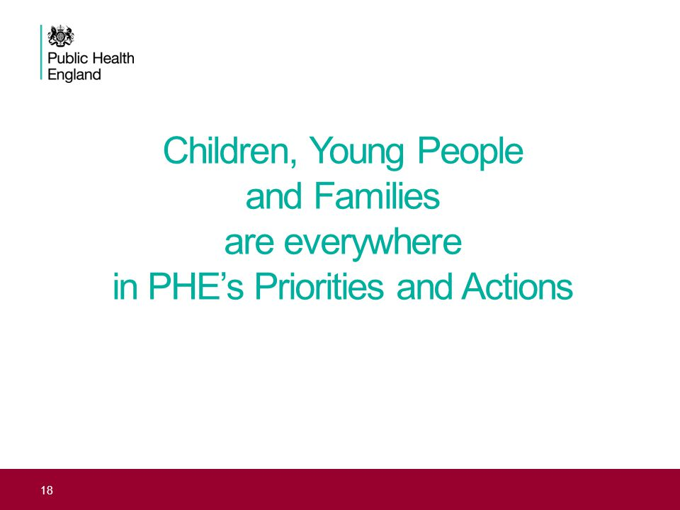 Children, Young People and Families are everywhere in PHE's Priorities and Actions 18