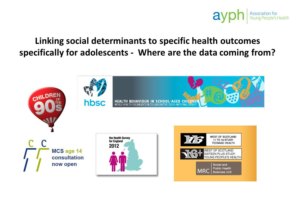 Linking social determinants to specific health outcomes specifically for adolescents - Where are the data coming from?