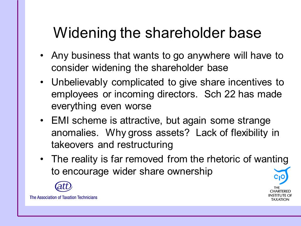 Widening the shareholder base Any business that wants to go anywhere will have to consider widening the shareholder base Unbelievably complicated to g