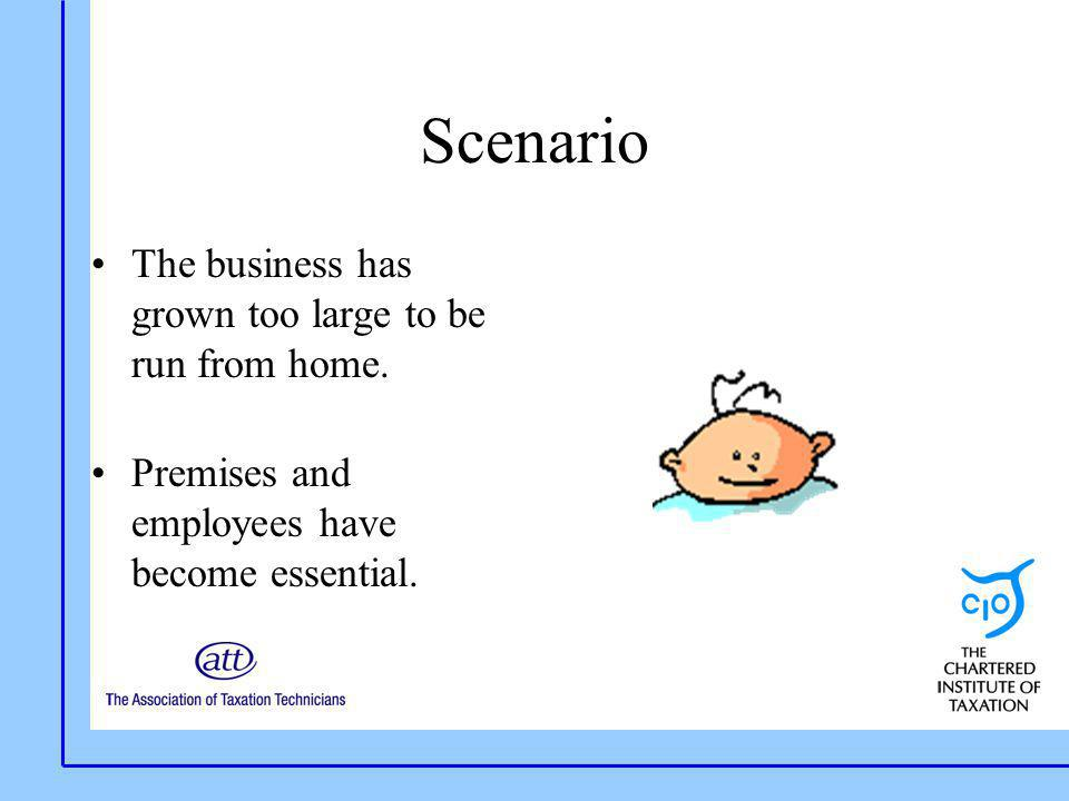 Scenario The business has grown too large to be run from home. Premises and employees have become essential.
