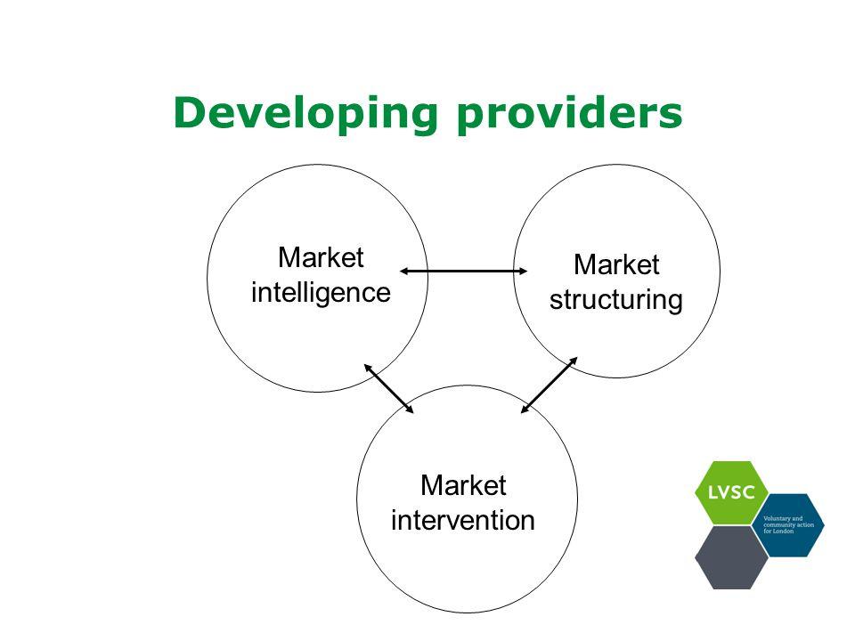 Developing providers Market intelligence Market structuring Market intervention