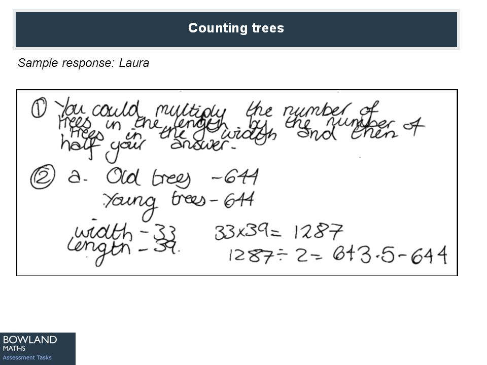 Counting Trees Sample response: Jenny
