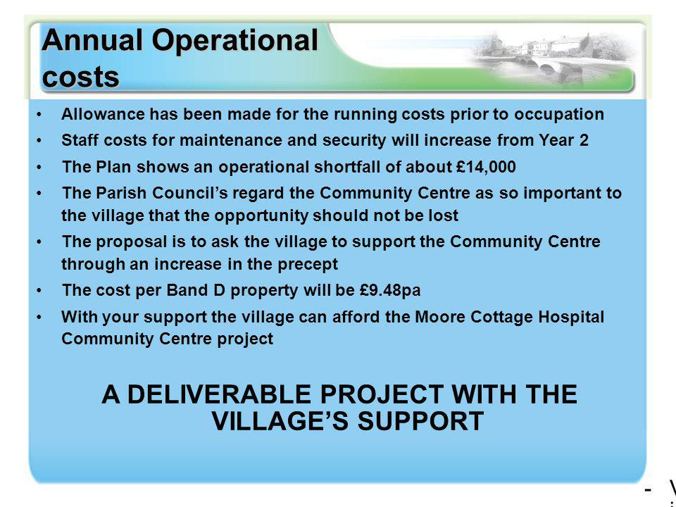 Annual Operational costs -Village Agent drop-in sessions-Complementary health and welfare facilities-Meeting rooms of varying sizes -Café -Office accommodation -Village Agent drop-in sessions-Complementary health and welfare facilities-Meeting rooms of varying sizes -Café -Office accommodation Allowance has been made for the running costs prior to occupation Staff costs for maintenance and security will increase from Year 2 The Plan shows an operational shortfall of about £14,000 The Parish Council's regard the Community Centre as so important to the village that the opportunity should not be lost The proposal is to ask the village to support the Community Centre through an increase in the precept The cost per Band D property will be £9.48pa With your support the village can afford the Moore Cottage Hospital Community Centre project A DELIVERABLE PROJECT WITH THE VILLAGE'S SUPPORT