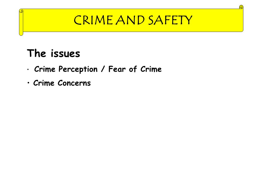 CRIME AND SAFETY The issues Crime Perception / Fear of Crime Crime Concerns