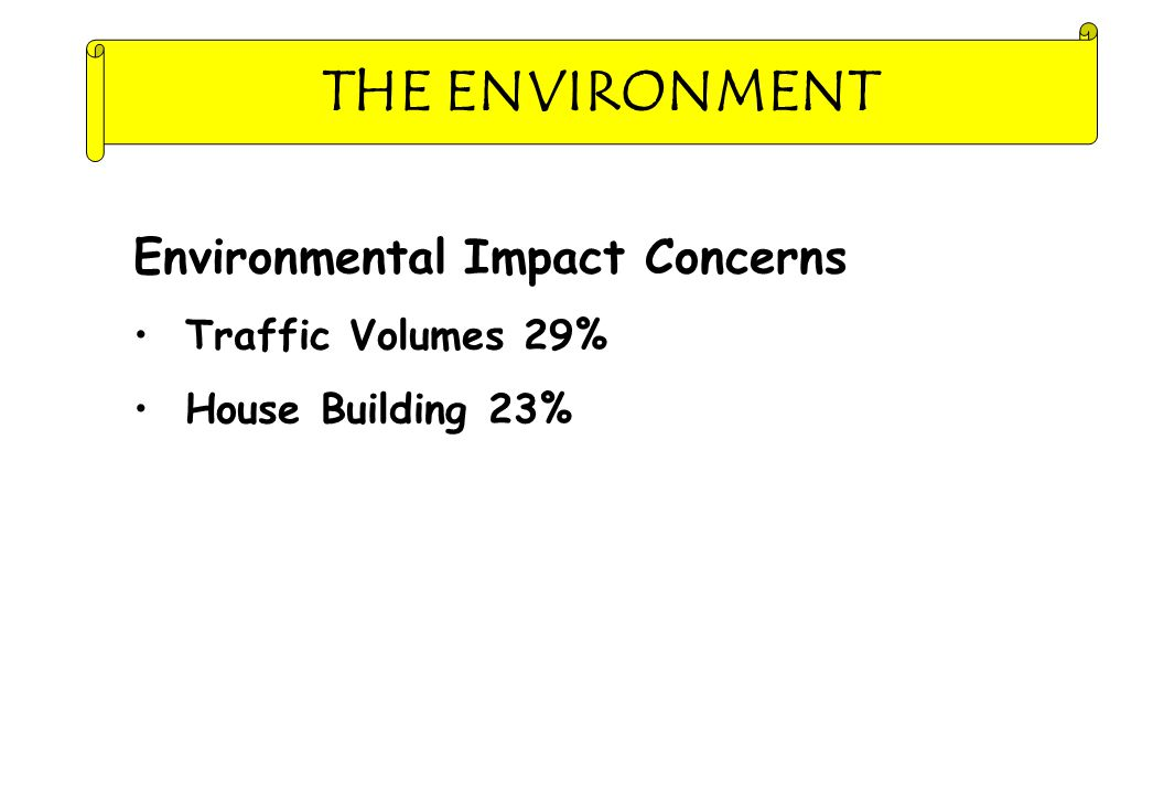 THE ENVIRONMENT Environmental Impact Concerns Traffic Volumes 29% House Building 23%